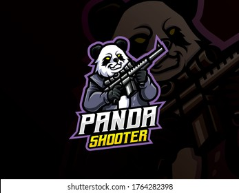 Panda mascot sport logo design. Panda warrior mascot vector illustration logo. Wild panda mascot with gun, Emblem design for esports team. Vector illustration