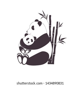 127e1bf1f8fdf Panda mother hugging baby panda, love between mom and her child, caring and  nursery