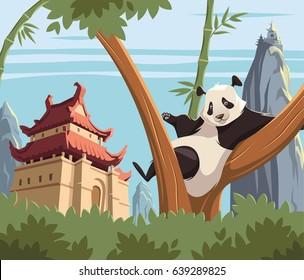 Panda on tree in ancient China