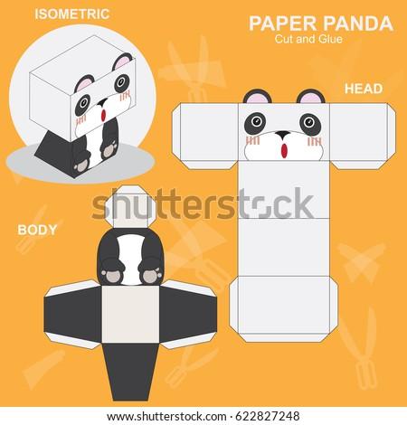 Panda Paper Craft Template Stock Vector Royalty Free 622827248
