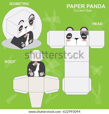 Panda paper craft template stock vector royalty free 622993094 panda paper craft template maxwellsz