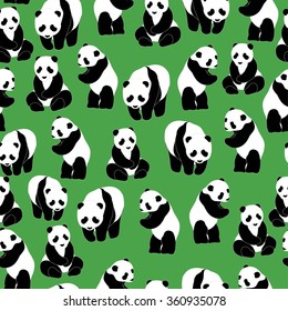 Panda pattern Seamless pattern green background