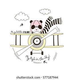 panda pilot flying plane , kid illustration