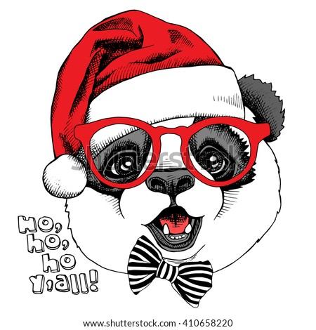 662570dd0b8 Panda portrait in glasses and with a red Santas hat. Vector illustration.