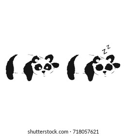 Panda resting on a tree. Two vector illustrations
