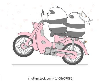 Panda is riding motorcycle in cartoon style.