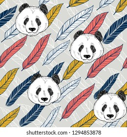 Panda seamless background with colorful feathers. Vector endless pattern.