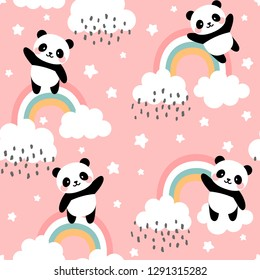 Panda Seamless Pattern Background, Happy cute panda flying in the sky between clouds and star, Cartoon Panda Bears Vector illustration for kids forest background with rain dots