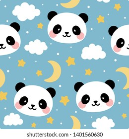 Panda seamless pattern background, happy cute panda in the sky with cloud moon and star, cartoon panda vector illustration for kids nordic background with stars dot, Scandinavian style baby bedroom