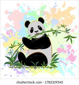 The panda sits on the grass and eats bamboo against a background of colored spots. Design of hoodies, t-shirts, bags, packages, notebooks