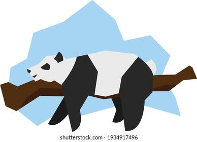 panda sleeping on a branch