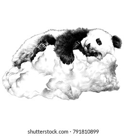 Panda sleeping on the cloud sketch vector graphics monochrome drawing