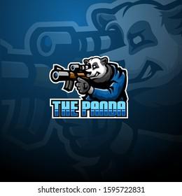 Panda snaiper esport mascot logo