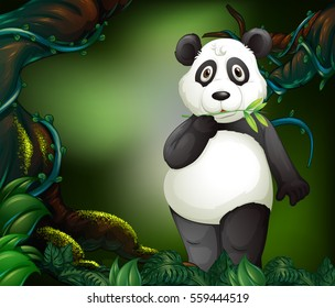 Panda standing in deep forest illustration