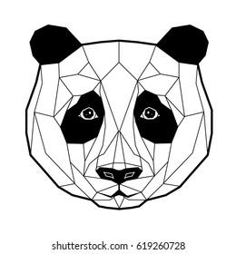 Panda stylized triangle polygonal model