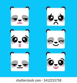 Panda vector graphics, panda emotions, emoji, kawaii