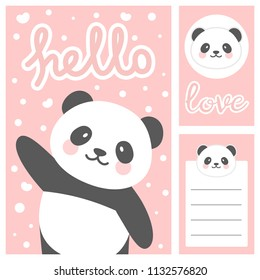 Panda vector print, baby shower card. hello panda with balloon cartoon illustration, greeting card, kids cards for birthday poster or banner, note stickers