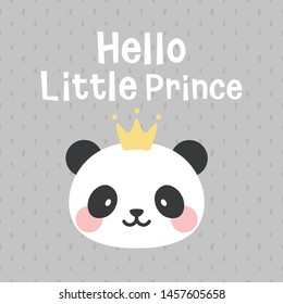 Panda vector print, baby shower card. hello little prince panda cartoon illustration,  greeting card, kids cards for birthday poster or banner, doodle invitation