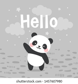 Panda vector print, baby shower card. hello panda cartoon illustration,  greeting card, kids cards for birthday poster or banner, doodle invitation