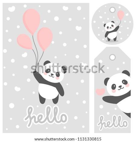 Panda Vector Print Baby Shower Card Stock Vector Royalty Free