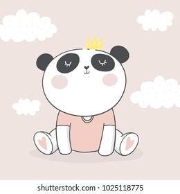 Panda vector print. Love Panda. Baby Shower card