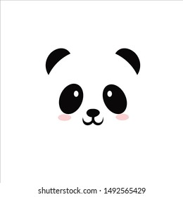 Panda vector with white background.