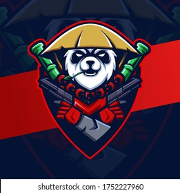 panda warrior mascot esport logo design