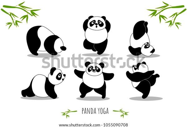 Image Vectorielle De Stock De Panda Yoga Ensemble De Poses