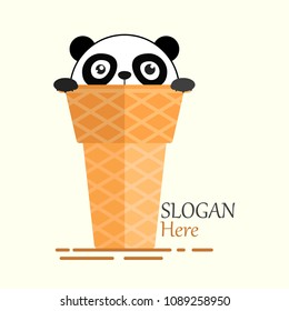 Pandas Cone Ice Cream Logo Illustration with Stunned Face