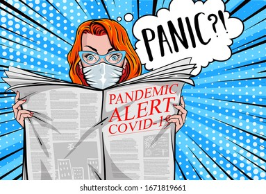 """Pandemic alert COVID-19"". Pretty woman reading tabloid newspaper with safe face-mask, panic, shocking stories, scaremongering. Vector illustration in pop art style."