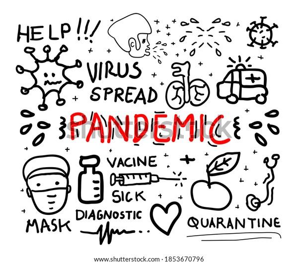 pandemic concept doodle vector illustration