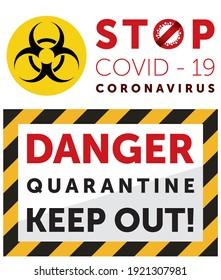 Pandemie stoppt Coronavirus Ausbruch covid-19 2019-nCoV Quarantäne. Logo covid-19 mit Zaunbändern, die anzeigen, dass es für Quarantäne gesperrt ist. Schließen für Quarantäne-Pandemie Corona-Virus-Vektorbild