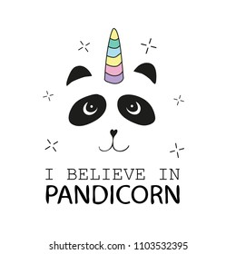 Pandicorn with rainbow mane on white - Cute panda - Vector illustration design for t shirt graphics, prints, posters, cards and other uses
