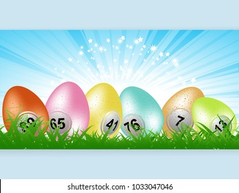 Panel 3D Illustration of Colourful Easter Eggs with Bingo Lottery Numbers on Grass Over Star burst