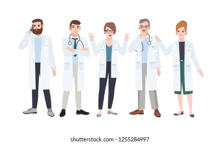 Panel of doctors or council of physicians discussing healthcare issues. Meeting of medicine workers. Group of angry and scared male and female cartoon characters. Colorful flat vector illustration.