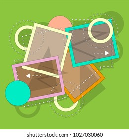 A panel of geometric shapes and dotted lines 4. Wallpaper, background, template. Vector illustration