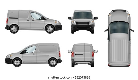 Panel mini van vector template. Isolated cargo car on white background. All elements in the groups on separate layers. The ability to easily change the color. View from side, front, back, top.