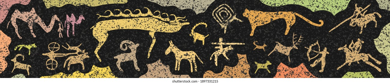 Panel on the ethnic theme. A series of petroglyphs, rock paintings of Central Asia, vector design.