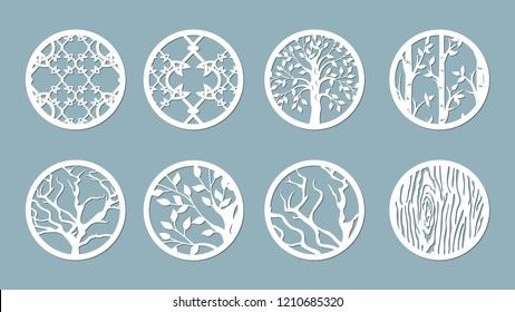 panel for registration of the decorative surfaces. Abstract circles, balls. Vector illustration of a laser cutting. Plotter cutting and screen printing