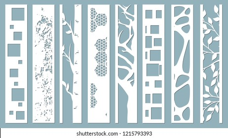 panel for registration of the decorative surfaces. Abstract strips, lines, panels. Vector illustration of a laser cutting. Plotter cutting and screen printing