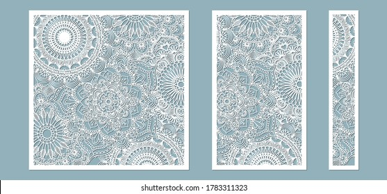 panel for registration of the decorative surfaces. Abstract strips, mandala, panels. Vector illustration of a laser cutting. Plotter cutting and screen printing.