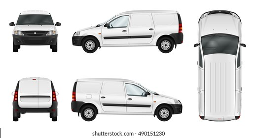 Panel van vector mock up for advertising, branding, corporate identity. Isolated template of the white car. All elements in the groups on separate layers. View from side, front, back, top.