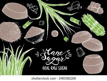 Panela sugar sketch. Hand drawn vector illustration. Vintage design template. Cane sugar. Gur or jggery powder. Organic unrefined.