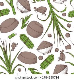 Panela sugar sketch seamless pattern. Hand drawn vector illustration. Vintage design template. Cane sugar. Gur or jggery powder. Organic unrefined. Vintage Design for packaging.