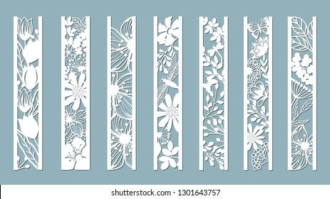 panels with floral pattern. Flowers and leaves. Laser cut. Set of bookmarks templates. Image for laser cutting, plotter cutting or printing. Tulip, Daisy. plotter and screen printing. serigraphy