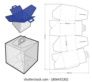 Panettone Box with handle and Die-cut Pattern. The .eps file is full scale and fully functional. Prepared for real cardboard production.