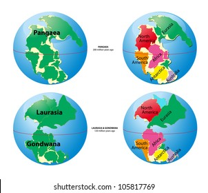Pangaea, Laurasia, Gondwana. Was the supercontinent that existed during the Paleozoic and Mesozoic eras. Vector. Ice age. glacial age