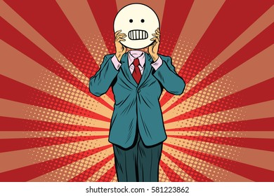 panic anger Man smiley Emoji face. Vintage pop art retro comic book vector illustration