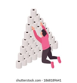 Panic attack concept with frustrated human character on white background 3d isometric vector illustration