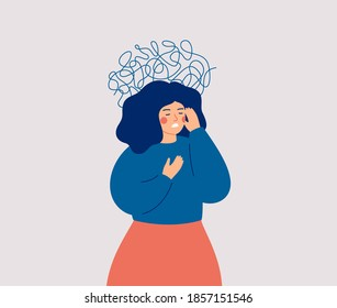Panic attack concept. Uneasy woman has chest pain and vertigo. A depressed female with nervous problems has shortness of breath and feels anxious. Vector illustration